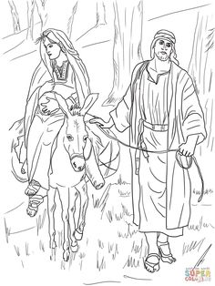 Mary And Joseph On The Road To Bethlehem Coloring Page From Jesus Nativity Category Select 30423 Printable Crafts Of Cartoons Nature Animals Bible