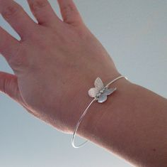 Little Butterfly Bracelet, Butterfly Jewelry, Butterfly Charm Bracelet, Silver Butterfly Bangle, Butterfly Wedding, Dainty Bangle Bracelet. $16.95, via Etsy.