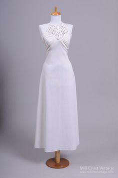 1970 Halter Vintage Wedding Gown , Vintage Wedding Dresses - 1970 Vintage, Mill Crest Vintage  - 1