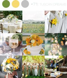 Tuscan Dreams ~ grey & yellow with touches of green tuscan-inspired wedding -- insert orange and this is a possibility