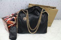 stella mccartney falabella black with gold Stella Mccartney Falabella, Leather Shoulder Bag, Gold, Bags, Fashion, Handbags, Moda, Fashion Styles, Taschen