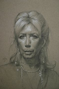 Anthony Ryder Linda Leslie  20 x 14 Graphite and white pastel  on tinted paper 2005