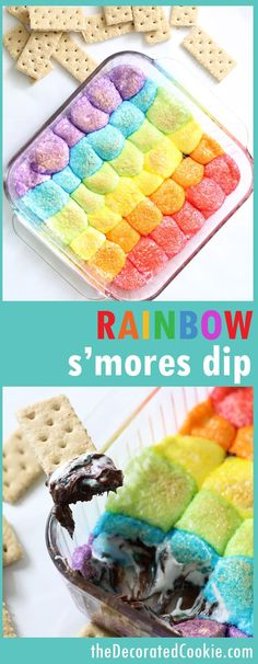 Rainbow s'mores dip! Super-easy dessert to make for a rainbow party or unicorn party. #RainbowFood #Unicornfood #smores #smoresdip #marshmallows