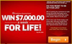 PCH - Win $7,000.00 A-Week-For-Life, minimum of $1,000,000 with Publishers Clearing House Special Early Look SuperPrize Event