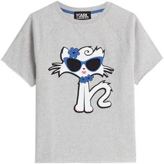 Karl Lagerfeld Cut Off Sleeve Choupette on the Beach Cotton Sweatshirt (€91) ❤ liked on Polyvore featuring tops, hoodies, sweatshirts, grey, cut off tops, karl lagerfeld sweatshirt, grey top, gray sweatshirt and beach tops