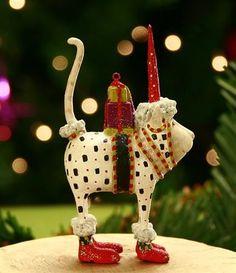 Mini Pat Santa Hat Cat Ornament