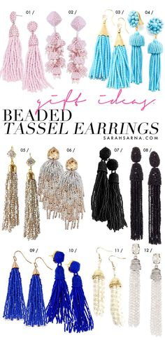 Gift Ideas with Style. Beaded tassel earrings are chic statement jewelry pieces that can be dressed up or dressed down, depending on the occasion. Available at every price point, these earrings make perfect Holiday gifts, via @sarahsarna.