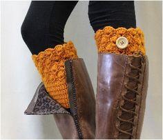 Boot cuff, crochet boot cuffs, boot topper, handmade, BOOTIE CUTIE pumpkin crochet boot topper button | CC1