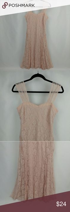 """NWOT F21 A-line flare lace dress light pink Brand new with no tags. Forever 21 A-line flare lace dress. A light soft pale pink color with a sweetheart neck line. Armpit to armpit measuring flat across 17"""" Length 32"""" measuring from the armpit Total length 40.5""""   Sleeve straps are 4.5"""" wide at the shoulder Forever 21 Dresses"""