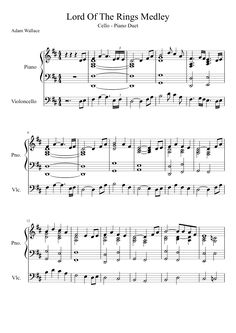 Lord of the Rings Medley for cello and piano sheet music