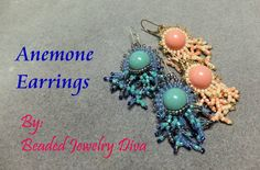 Anemone Earrings - Beading With Brick Stitch  ~ Seed Bead Tutorials