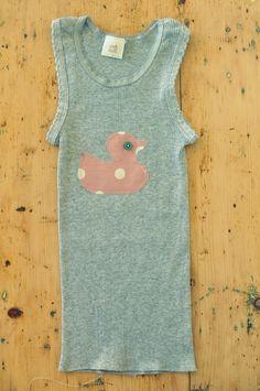 Rubber duck grey baby girls ribbed singlet vest tank top age 2. $13.00, via Etsy.