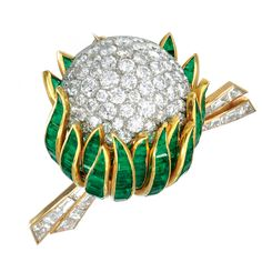 Van Cleef & Arpels Emerald Diamond Gold Flower Brooch | From a unique collection of vintage brooches at https://www.1stdibs.com/jewelry/brooches/brooches/