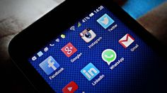 Showing social media icons on smartphone