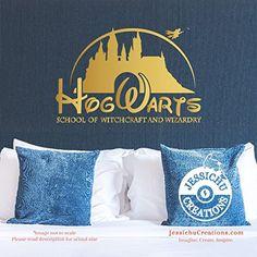 Hogwarts x Disney Castle logo - Harry Potter Inspired Geeky Book Wall Vinyl Decal