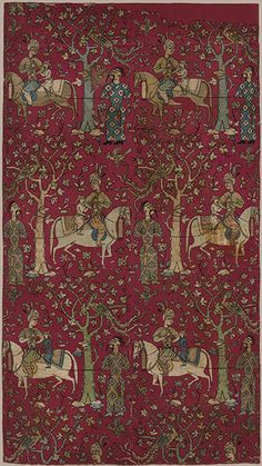 Silk panel of Safavid courtiers leading Georgian captives, mid-16th century; Safavid  Iran  Silk, metal-wrapped thread; lampas