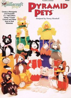 Pyramid Pets, Plastic Canvas Pattern Booklet TNS 953325 Poseable Toy Animals - Plastic Canvas Patterns