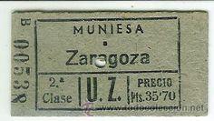 Coleccionismo Billetes de transporte: BILLETE FERROCARRIL DE UTRILLAS A ZARAGOZA MUNIESA A ZARAGOZA 2ª CLASE - Foto 1 - 30306338