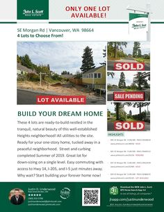 ONE Featured Lot Still Available! Justin Underwood is the listing broker with John L Scott located at 204 SE Park Plaza Drive Suite 109, Vancouver, Washington 98684. His email address is justinunderwood@johnlscott.com. You can also reach him at: (360) 333-5706. Call or text today if you have questions about any this last available lot! #realestate #priceimproved #lots #VancouverRealEstate #dreamhome #JustinUnderwood #JohnLScott