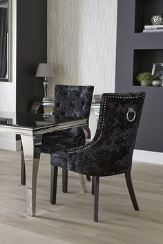 Available At The Range, These Sumptuous Black Velvet Chairs Are Studded  With Silver Ring Detail Part 46