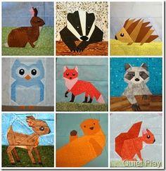 Woodland Creatures Paper Pieced. Bunny/Rabbit, Badger, Hedgehog, Owl, Fox, Racoon, Deer/Fawn, Bear (otter?), squirrel.