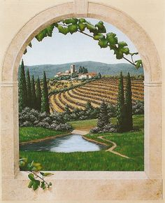 Tuscany scene using my grapevine and arched window stencils.