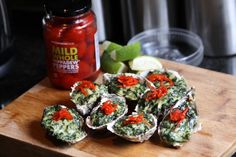 """Oysters topped with creamed spinach and peppadew""""s Creamed Spinach, Starters, Oysters, Salsa, Restaurant, Dinner, Food, Dining, Diner Restaurant"""