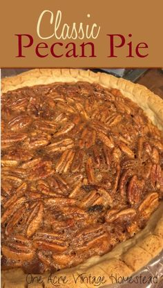Pecan Pie ⋆ One Acre Vintage & Pumpkin Patch Mtn. This is the best Southern classic pecan pie ever. Made with corn syrup, sugar, vanilla and chopped or whole fresh pecans. Easy Pie Recipes, Pecan Recipes, Cooking Recipes, Dessert Recipes, Fall Desserts, Pumpkin Recipes, Sweet Recipes, Cake Recipes, Best Pecan Pie Recipe