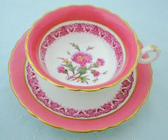 Royal Cauldon wide mouth pink jesdon thistle by simplytclubhouse