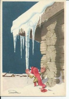 Dahlin postcard Elf with Ice Troll, Gnomes, Elf, Christmas Cards, Illustration, Outdoor Decor, Painting, Nymphs, Pixies