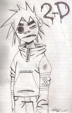 the gorillaz - 2D, by krashed-lvsk on deviantart.com
