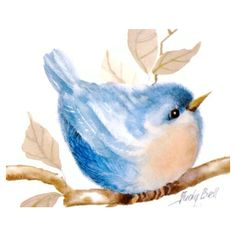 Blue Bird Print of Small Whimsical Watercolor Painting ($22) ❤ liked on Polyvore featuring home, home decor, wall art and blue bird wall art