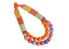 OhMAR Necklace - Oaxacan Textiles  - Orange - OOAK by VianneyMendez on Etsy https://www.etsy.com/listing/239841997/ohmar-necklace-oaxacan-textiles-orange