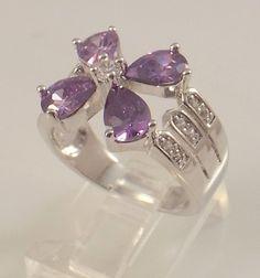 Ladies Purple Amethyst CZ Flower 18K White Gold Ring~Size 8 - Free Gift Box