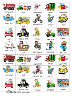 A collection of English ESL kindergarten worksheets for home learning, online practice, distance learning and English classes to teach about transport, trans. Learning English For Kids, English Lessons For Kids, Kids English, Learn English Words, English Language Learning, Teaching English, Spanish Lessons, Teaching Spanish, Spanish Language