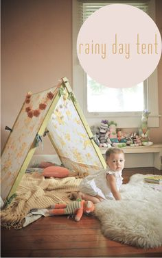 Rainy day Tent? Perfect for Florida afternoon showers! Simple Tent with Vintage Twin Sheet