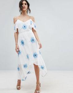ASOS PREMIUM Cold Shoulder Embroidered Midi Dress with Dip Back Hem