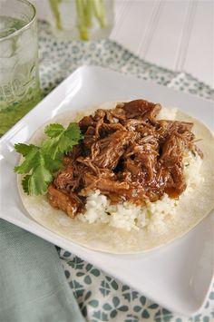 Cafe Rio Sweet Pork w/Lime Cilantro Rice (put it on flour tortillas)