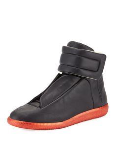 MAISON MARGIELA Future Men'S High-Top Sneaker, Black/Red. #maisonmargiela #shoes #