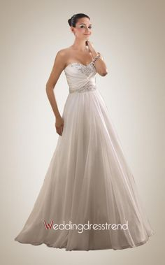 Beautiful Strapless Beaded A-line Chapel Train Bridal Gown - Cheap Wedding Dresses Wholesale and Retail Online Store