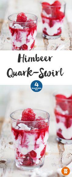 Himbeer-Quark-Swirl 2 Portionen, 4 SmartPoints/Portion, Weight Watchers, Desserts, in 10 min. Dessert Weight Watchers, Plats Weight Watchers, Weight Watchers Meals, Snack Recipes, Dessert Recipes, Healthy Recipes, Eat Dessert First, Desert Recipes, Sweets