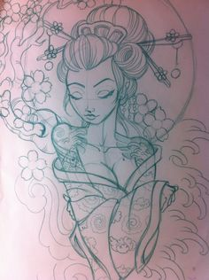 geisha sketch | Japanese geisha sketch by ~5stardesigns on deviantART - WOW WOW AND WOWWWWWWWWW LOVE IT!