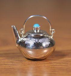 Navajo Miniature Silver Turquoise teapot kettle Removable Lid Whittman
