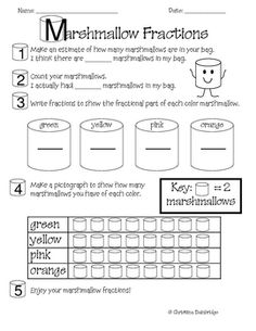 My students LOVE doing this activity each spring when we study fractions! All you need is a bag or two of colored marhmallows to share with your s...