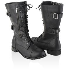 Wide Calf Combat Boots (£24) ❤ liked on Polyvore featuring shoes, boots, women, chukka boots, laced boots, combat booties, double buckle boots and lacing boots
