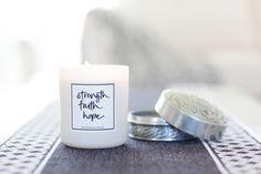 Strength Faith Hope White Candle Soy Wax & Essential Oils www.lemoncanary.com.au