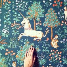 Unicorn wallpaper based on the unicorn tapestries. Wish I could find the source for the actual wallpaper to buy. Please comment if you know. Fabric Wallpaper, Wall Wallpaper, Tapestry Wallpaper, Monkey Wallpaper, Forest Wallpaper, Closet Wallpaper, Quirky Wallpaper, Office Wallpaper, Interior Wallpaper