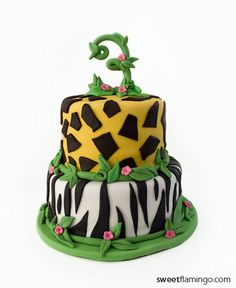3rd Birthday at the Zoo! | Sweet Flamingo Cake Co.  www.sweetflamingo.com
