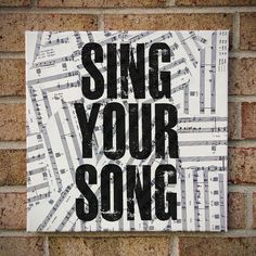 Quote Art on Canvas Vintage Sheet Music Sing Your by StoicDesign