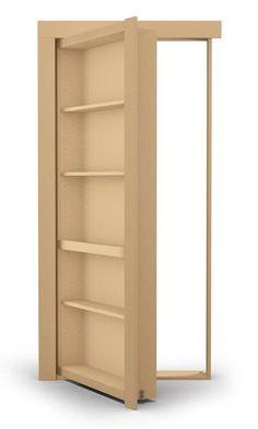 Hidden Door Bookcase, Secret Door Bookshelf, Hidden Doors In Walls, Pine Bookcase, Wall Bookshelves, Bookcases, Murphy Door, Casas Containers, Hidden Rooms